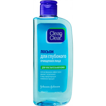 Clean & Clear лосьон для глубокого очищения лица, для чувствительной кожи,  200мл (12976)