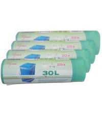 Пакеты для мусора, с затяжками, выгодный набор 30л*80шт (00765)