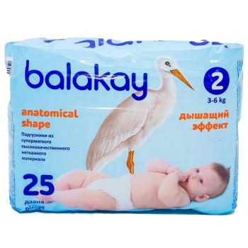 Balakay подгузники #2, 3-6кг, 25шт (90050)