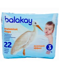 Balakay подгузники #3, 5-11кг, 22шт (90067)