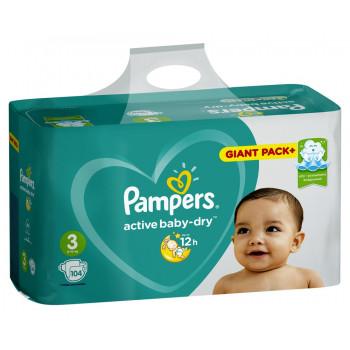 Pampers actiive baby dry подгузники #3, 6-10 кг, 104шт (04860)
