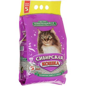 Сибирская кошка наполнитель для кошачьих туалетов, экстра комкующийся, для длинношерстных кошек 5л (32309)