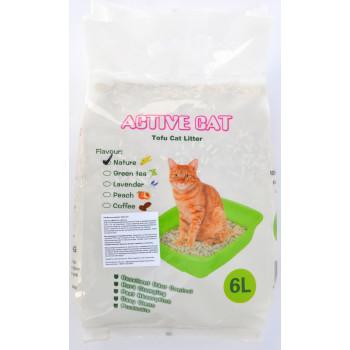 Active Cat наполнитель тофу для кошачьих туалетов, комкующийся, смывается в унитаз, без запаха 6л (00028)