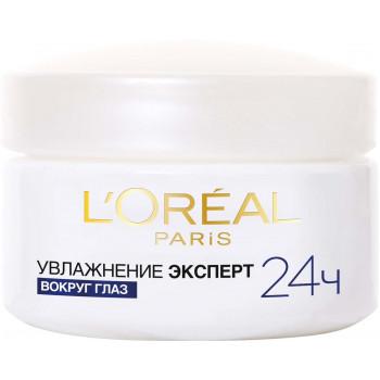 L'Oreal увлажняющий крем для кожи вокруг глаз, Увлажнение Эксперт, все типы кожи, 50мл (80639)