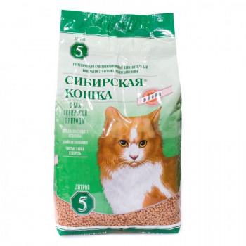 Сибирская кошка наполнитель для кошачьих туалетов, древесные гранулы, Флора, 5л (30381)