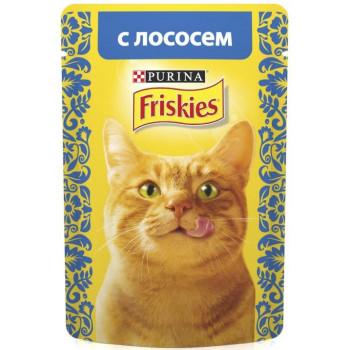 Friskies корм пауч для взрослых кошек, с лососем, 85гр (04263)