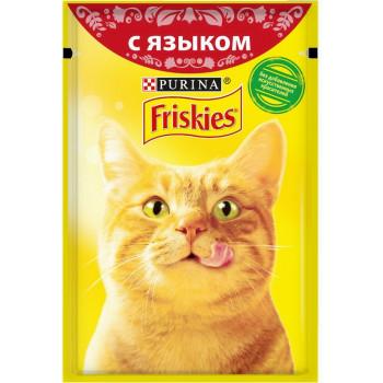 Friskies корм пауч для взрослых кошек, с языком в подливе, 85гр (97583)
