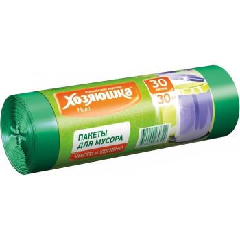 Хозяюшка пакеты для мусора, чисто и удобно, 30л*30шт (60722)
