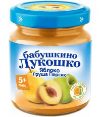Бабушкино Лукошко пюре фруктовое, яблоко, груша, персик, c 5 месяцев, 100гр (09406)