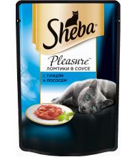 Sheba Pleasure консервированный корм, для взрослых кошек, с тунцом и лососем, 85гр (38711)