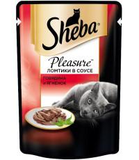 Sheba Pleasure консервированный корм, для взрослых кошек, из говядины и ягненка, 85гр (45146)
