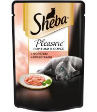 Sheba Pleasure консервированный корм, для взрослых кошек, с форелью и креветками, 85гр (70190)
