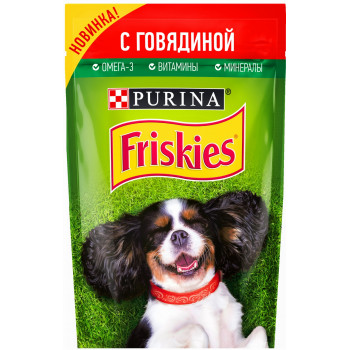 Friskies корм пауч для взрослых собак, с говядиной, 85гр (32478)