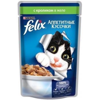 Felix корм пауч для взрослых кошек, кролик в желе, 85гр (75730)