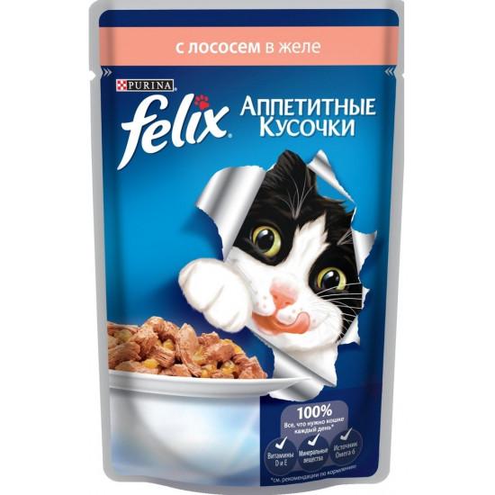 Felix корм пауч для взрослых кошек, лосось в желе, 85гр (21657)