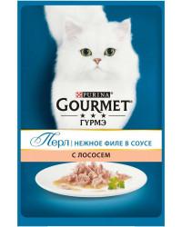 Gourmet Перл корм пауч для взрослых кошек, нежное филе лосося в соусе, 85гр (19631)