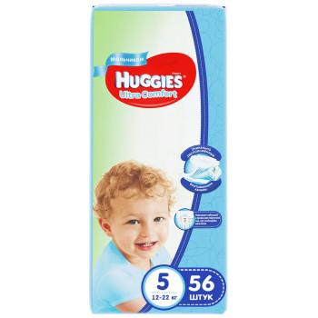 Huggies ultra comfort подгузники для мальчиков #5, 12-22 кг, 56шт (43635)