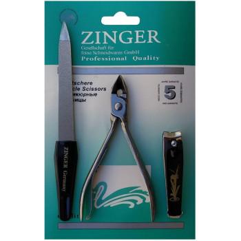 Zinger маникюрный набор, пилка для ногтей + прибор для удаления заусенцев + щипчик, 3 прибора (24348)
