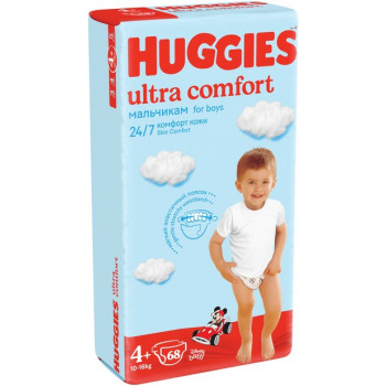 Huggies ultra comfort подгузники #4+, 10-16 кг, для мальчиков, 68шт (43796)