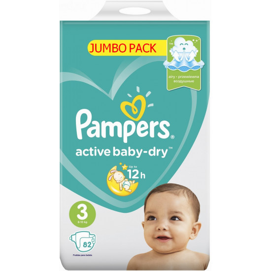 Pampers active baby-dry подгузники #3, 6-10 кг, 82шт (65085)