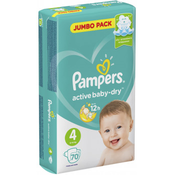 Pampers active baby-dry подгузники #4, 9-14 кг, 70шт (44769)