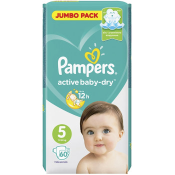 Pampers active baby-dry подгузники #5, 11-16 кг, 60шт (04747)