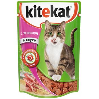 Kitekat корм пауч для взрослых кошек, ягненок в соусе, 85гр (35098)
