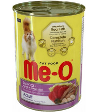 Me-O корм для взрослых кошек, морепродукты в креветочном желе, 400гр (02098)