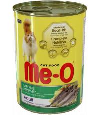 Me-O корм для взрослых кошек, сардины в креветочном желе, 400гр (02104)