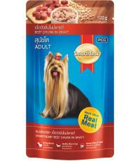 SmartHeart корм пауч для взрослых собак, говядина в соусе, 130гр (16459)