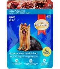 SmartHeart корм пауч для взрослых собак, курица и печень в соусе, 80гр (14336)