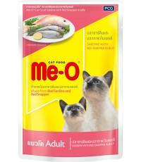 Me-O корм пауч для взрослых кошек, сардин и красный окунь в желе, 80гр (81807)