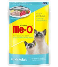 Me-O корм пауч для взрослых кошек, тунец с курицей в желе, 80гр (83801)