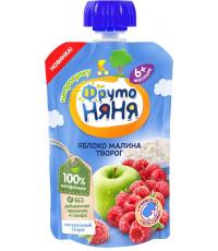Фруто Няня пюре сашет, яблоко, малина, творог, c 6 месяцев, 90гр (08844)