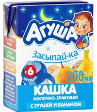 Агуша Засыпай-ка молочно-злаковая каша, с грушей и бананом, с 6 месяцев, 200мл (32448)