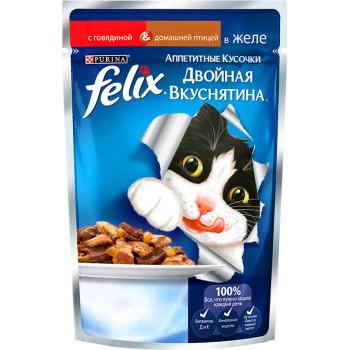 Felix корм пауч для взрослых кошек, говядина и домашняя птица в желе, 85гр (19322)