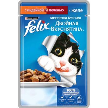 Felix корм пауч для взрослых кошек, индейка и печень в желе, 85гр (19766)