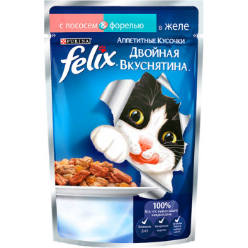 Felix корм пауч для взрослых кошек, лосось и форель в желе, 85гр (19780)