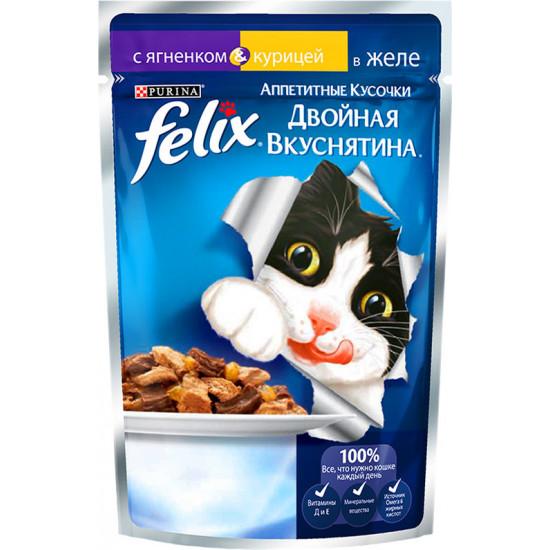 Felix корм пауч для взрослых кошек, ягненок и курица в желе, 85гр (19742)