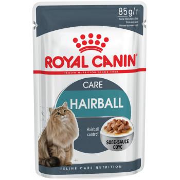 Royal Canin Hairball корм пауч для кошек, кусочки в соусе, 85гр (00410)