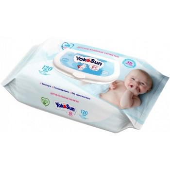 YokoSun детские влажные салфетки, 99% очищенная вода, 120шт (25005)
