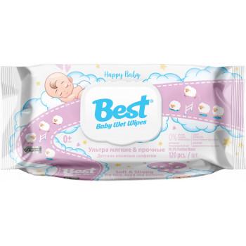 Best детские влажные салфетки, 99,9% очищенная вода, 120шт (10107)