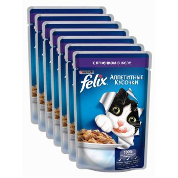 Felix корм паучи для взрослых кошек, ягненок в желе, выгодный набор 7шт*85гр (62868)