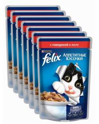 Felix корм паучи для взрослых кошек, говядина в желе, коробка 85гр*24шт (74764)