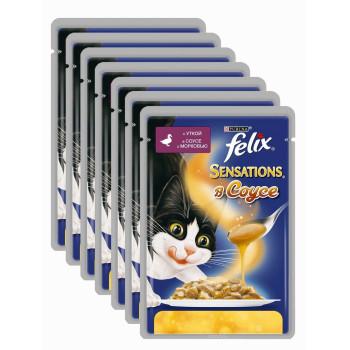 Felix Sensations корм паучи для взрослых кошек, утка в соусе c морковью, выгодный набор, 7шт*85гр (57658)