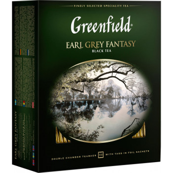 Greenfield Earl Grey Fantasy чёрный чай с ароматом бергамота, в пакетиках, 100шт (05848)