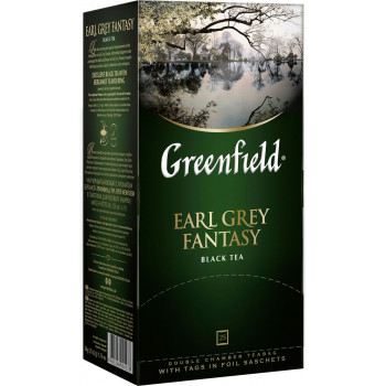 Greenfield Earl Grey Fantasy чёрный чай с ароматом бергамота, в пакетиках, 25шт (04278)