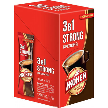 Жокей Strong кофе растворимый 3в1, 10 пакетиков (12946)