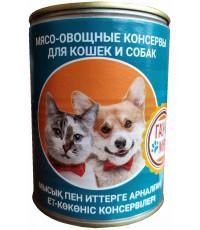 Гау Мяу корм для взрослых собак и кошек, мясо-овощные консервы, 400гр (16957)