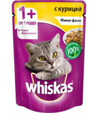 Whiskas корм пауч для взрослых кошек, курица мини-филе, 85гр (79445)